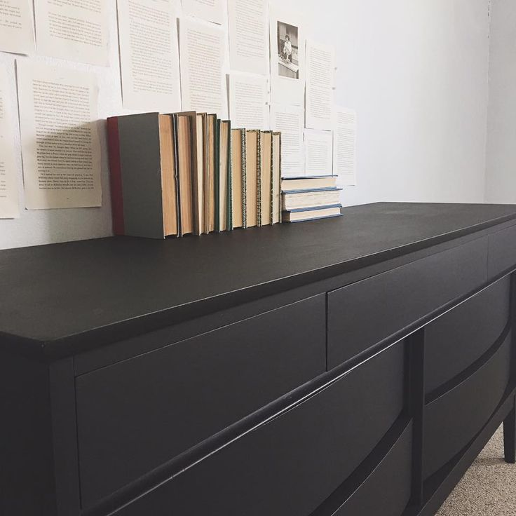 This lovely mid century modern dresser was lavished in General Finishes Lamp Black Milk Paint by Whimsical Design - Bryan College Station!