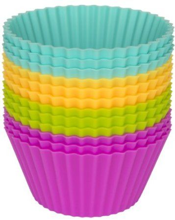 Pantry Elements Silicone Baking Cups - Set of 12 Reusable Cupcake Liners in Four Tropical Colors in Storage Container - Muffins, Gelatin, Snacks, Frozen Treats, Ice Cream or Chocolate Shell-lined Dessert Molds - Great for Bento Lunch Boxes - BPA Free Food Grade Silicone Non-stick Bakeware - Island Collection: Kitchen & Dining: Amazon.com