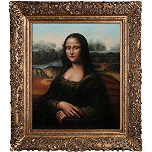 famous oil paintings gold frames | overstockArt Mona Lisa with Burgeon Gold Frame Oil Painting by Da ...
