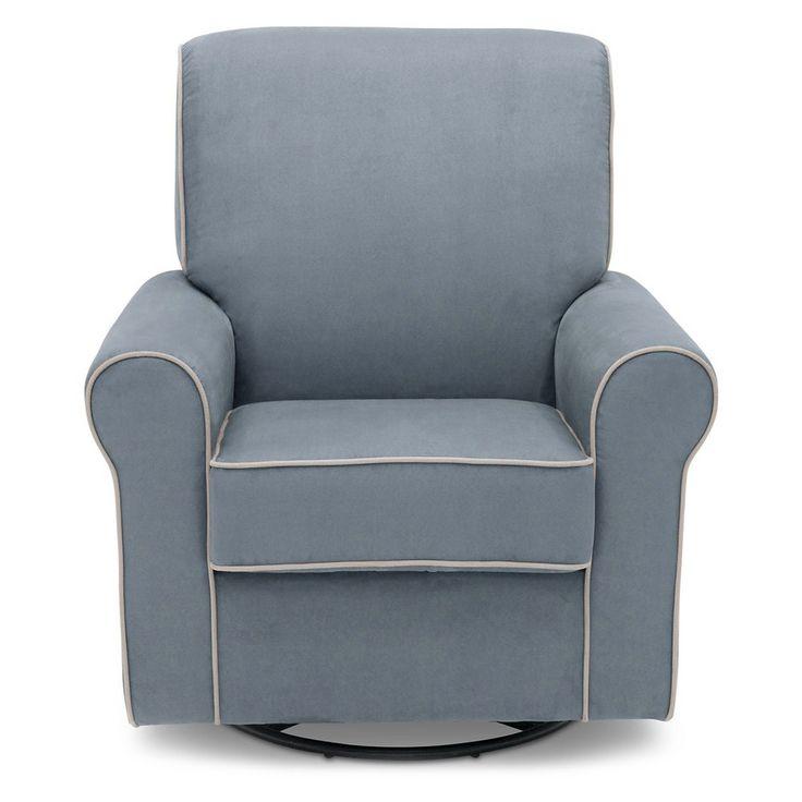 Delta Children Rowen Nursery Glider Swivel Rocker Chair - Frozen Blue /Creme Welt, Frozen Blue W/Crème Welt