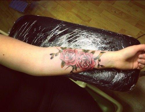 Women Forearm Sleeve Flowers Tattoo