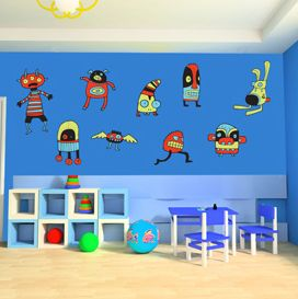 Monster wall sticker set! #wallart #monsters #children #childstyle #wallstickers #cool #interiors #interiordesign  http://www.abodewallart.co.uk/wall-stickers/monster-wall-sticker-set.html