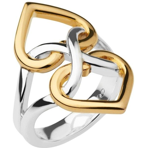 Links Of London Infinite Love Sterling Silver And 18Ct Gold Vermeil... (£129) ❤ liked on Polyvore featuring jewelry, rings, heart shaped rings, infinity ring, sterling silver heart jewelry, links of london rings and sterling silver heart ring