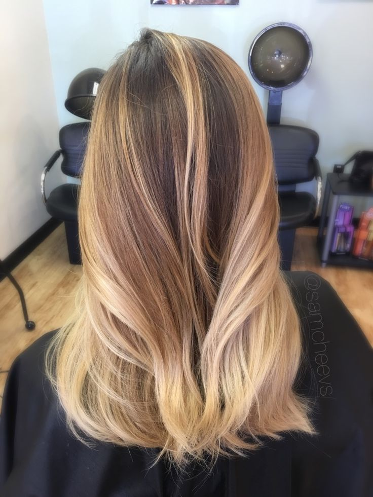 Warm Golden Honey Platinum Balayage Highlights For Dark