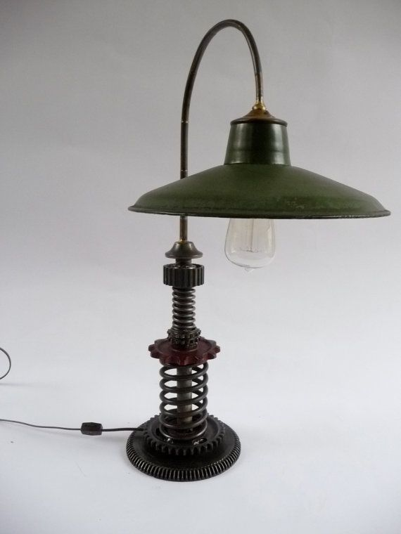 industrial art lamps steampunk industrial style table lamp machine age found object art. Black Bedroom Furniture Sets. Home Design Ideas