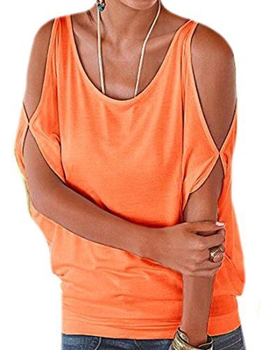 ARRIVE GUIDE Womens Batwing Sleeve Cut Out Off Shoulder Loose Top Tshirt Orange L * Be sure to check out this awesome product.Note:It is affiliate link to Amazon.