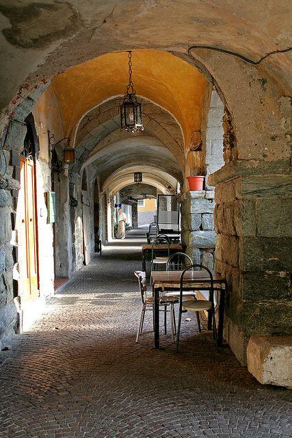 Arcades in Noli, Liguria, Italy