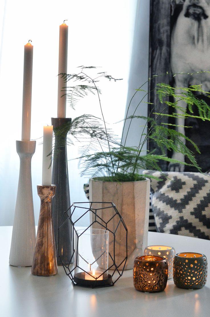 Lovely ceramic light holders; grey, copper and white <3