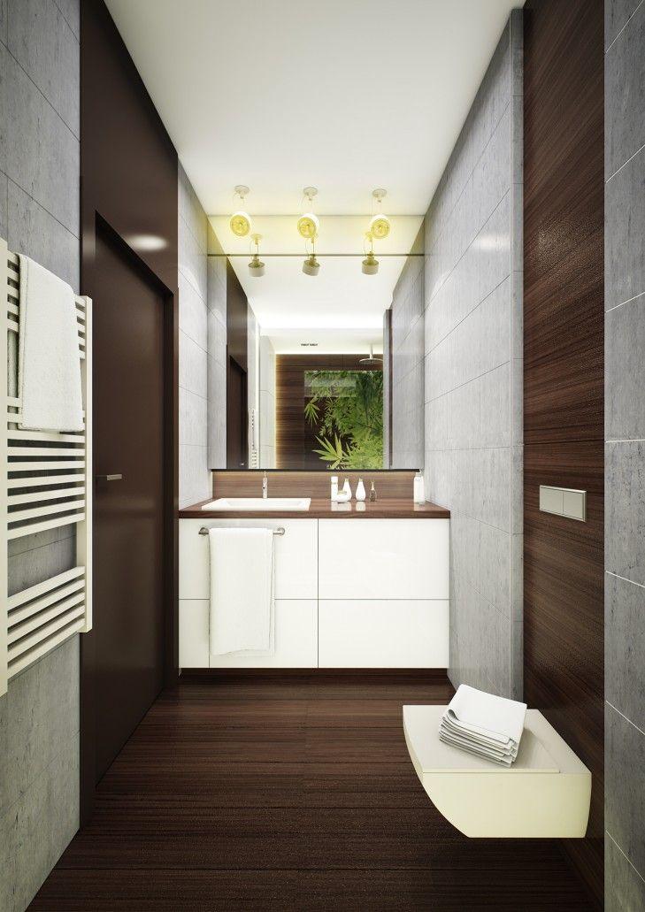 Nowoczesna aranżacja łazienki w mieszkaniu w Warszawie - Tissu. Surowy beton w połączeniu z drewnem i rozświetlony bielą stworzył eleganckie wnętrze. http://www.tissu.com.pl/zdjecia/400