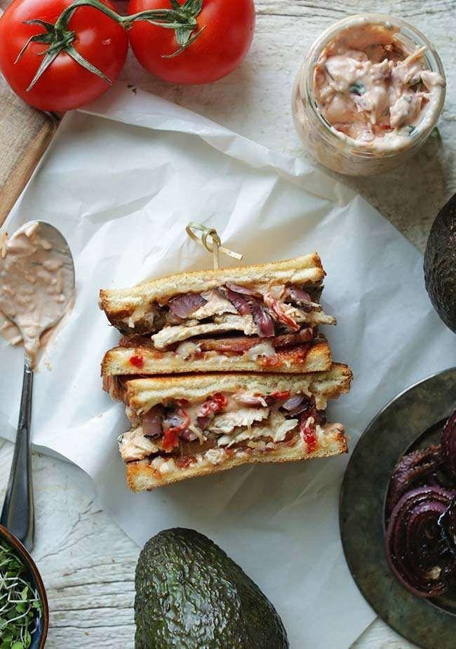 Chicken Club Sandwich and Chicken Melt Recipe  | Whiskey Cake's has pesto mayo, avacado, and dill havarti on sourdough. Nom.