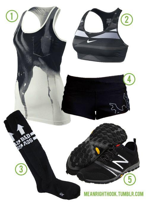Bad Ass in Black 1. Nike Splash Tank 2. Nike Pro... - Mean Right Hook