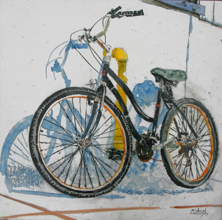 "lido bikes (69) 18"" x 18"" x 1 3/4"" micheal zarowsky / Mixed media (watercolour / acrylic painted directly on gessoed birch panel) Available $600.00"