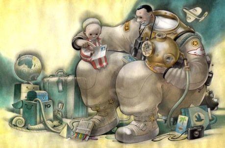 papà Svein Nyhus - Da 5 anni- Racconta la nostalgia di un bimbo che attende il ritorno del genitore da un viaggio di lavoro. E che intanto ne canta le lodi: Perché papà sa fare un sacco di cose, quasi tutto. Sa incollare gli oggetti con la supercolla e ripararli senza le istruzioni. E poi papà sa aprire un lucchetto senza la chiave, e sa fare il suono di una pernacchia sotto l'ascella. Le immagini, dai colori tenui, danno forma ai pensieri del bambino e mostrano un padre eroico, che si muove…