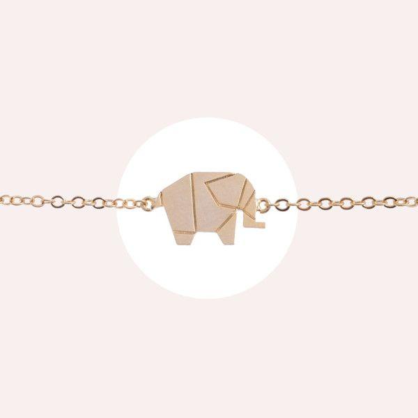 Elephant Origami Gold Bracelet