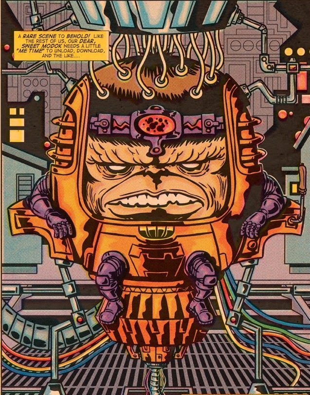 Modok pin-up, art by Jack Kirby