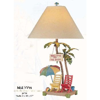 h2Welcome to the Beach Lamp/h2br / Two tall, skinny realistic looking palm trees form the base of the Welcome tot he Beach Table Lamps base.  In addition to the palm tree lamp are yellow and red folding beach chairs, colorful umbrella with matching beach ball and blue bucket.  Their is a sign hanging from the palm tree which says - Welcome to the Beach. br /br / - Welcome to the Beach Lamp measures 30 high - 3 Way Light Switch