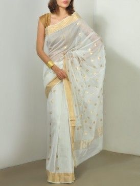 Gold-Ivory Chanderi Saree - Polka  #Chanderi #Sarees