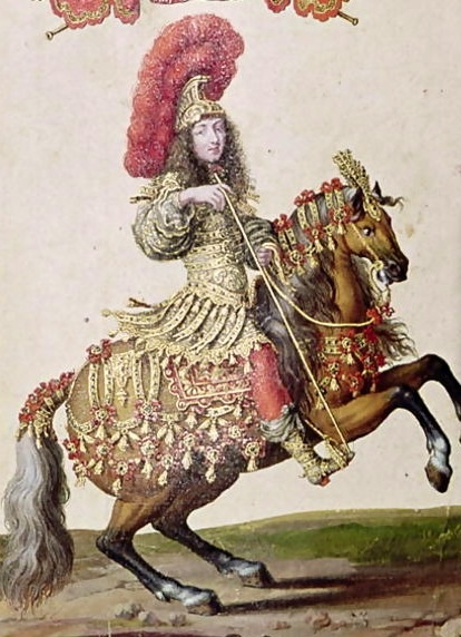 Louis XIV in the Grand Carrousel masque,1662 representing the roman emperor but dressed in 17th century style with a chiselled armour with gems and pearls, boots of silver brocade and a silver helmet with a golden crown of laurel and crimson feathers./ Louis XIV en el Grand Carrousel, 1662 representando el emperador romano pero a la moda del siglo 17 con armadura cincelada con gemas y perlas, botas de brocado plata y casco plateado con una corona de laurel dorada y cascada de plumas escarlata.