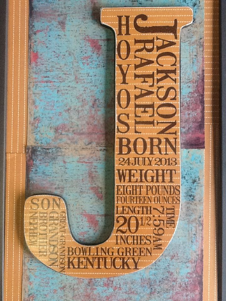 I combined subway art and the Mod Podge letters into a decoration for my grandson's nursery. I scanned the wood letter to get the shape and size correct and made a template in Microsoft Publisher.