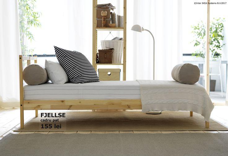 Făcut din materiale naturale și durabile, cadrul de pat FJELLSE este rezistent la uzură, pentru cât mai multe nopți liniștite.  Fă loc visurilor noi și economisește până la 20% la achiziționarea unui pat nou. Oferta este valabilă până pe 5 noiembrie, în limita stocului disponibil, pentru membrii IKEA FAMILY.