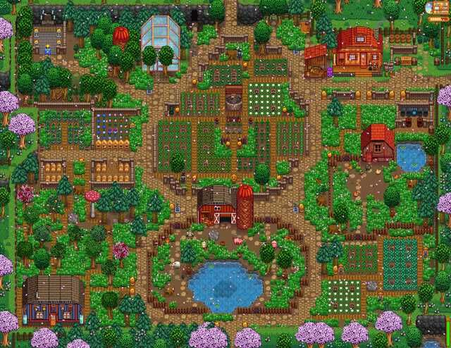 Leading Up To 1 1 I Finished Up My Farm This Is Cobble End Farm Stardew Valley Farms Stardew Valley Stardew Valley Layout