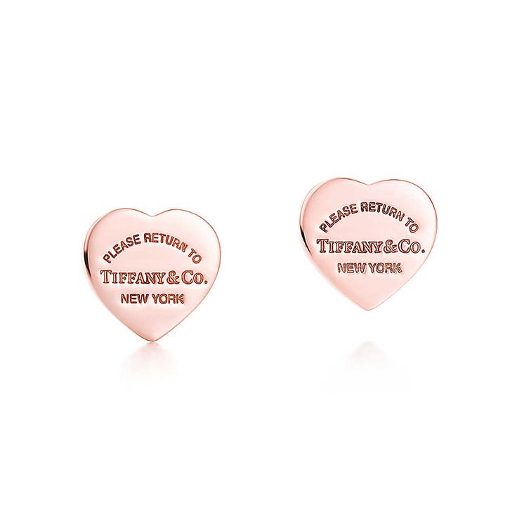 Return to Tiffany™ mini heart earrings in RUBEDO™ metal.