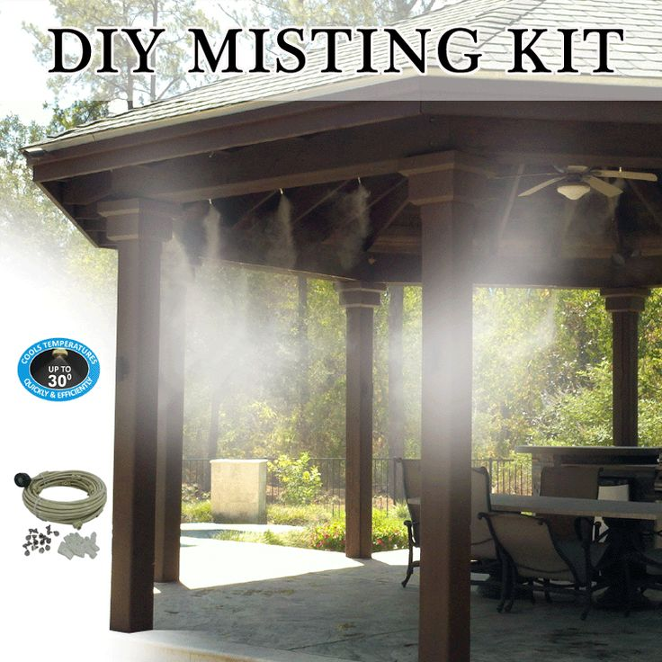 DIY patio misting system is made with UV treated flexible tubing, leak proof misting tees, and brass/stainless steel misting nozzles, our patio misting system is guaranteed to cool the surrounding air by up to 30 degrees.