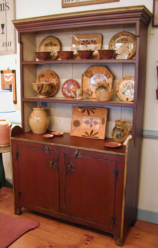 What A Beautiful Display In This Prim Cupboard!