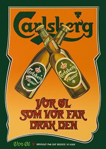 Carlsberg poster » Vor Øl som Vor Far Drak Den (Our beer as our father drank it) » by Niels Ditlev