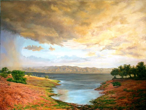 View from Spurwing Island, Lake Kariba, Zimbabwe,  just before a huge storm broke. Oil on Canvas - Painting by Dinah Beaton