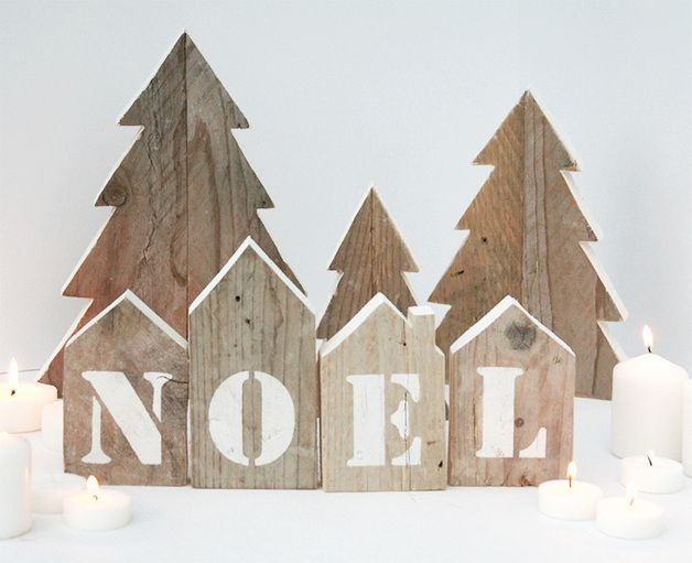 #Casette in legno di recupero e stencil #NOEL+alberi - un prodotto unico di NuvolediLegno su DaWanda