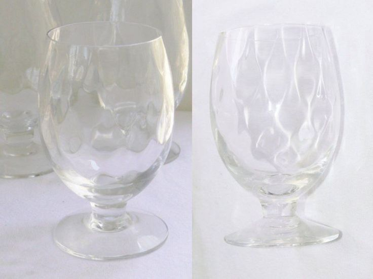 Vintage Set 8 Thumbprint Optic Footed Cocktail Wine Water Tumbler Glasses 10oz - http://collectibles.goshoppins.com/barware/vintage-set-8-thumbprint-optic-footed-cocktail-wine-water-tumbler-glasses-10oz/