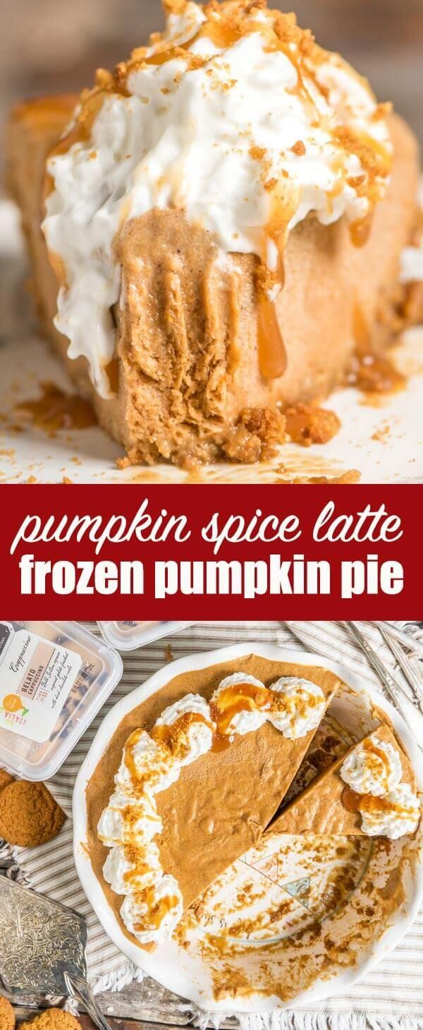 Looking for an alternative to traditional pumpkin pie? Try this frozen pumpkin pie made with cappuccino gelato sitting inside a gingersnap crust. Frozen Pumpkin Pie {No Bake Pumpkin Dessert Recipe with Gelato} via @tastesoflizzyt AD