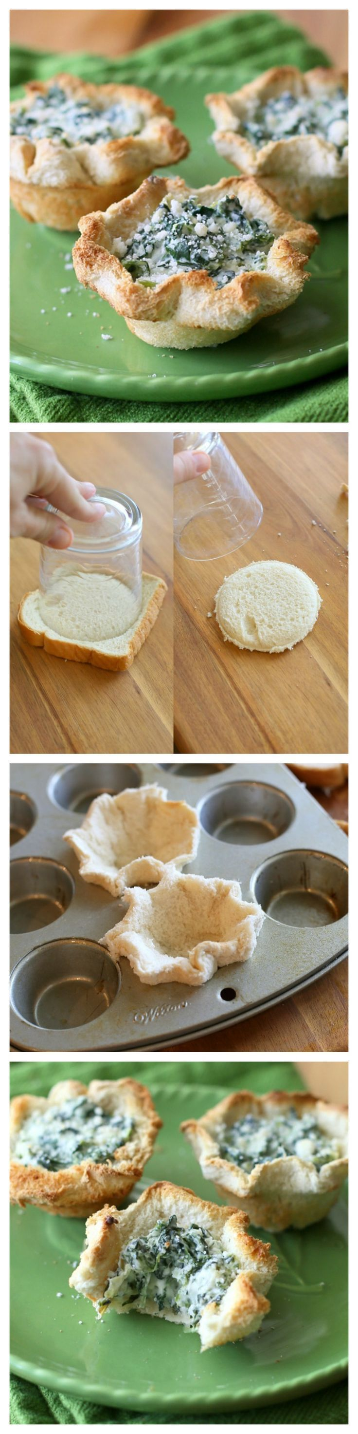 Spinach Artichoke Cups - spinach dip in an easy homemade bread shell. Dip and dipper in one! the-girl-who-ate-...