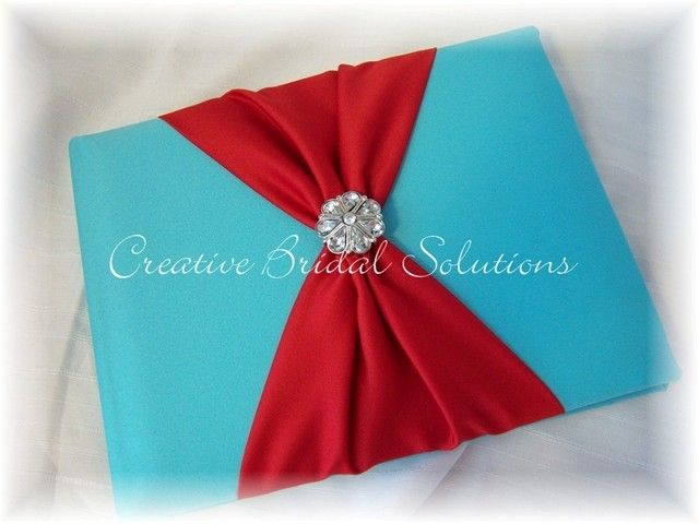 Aqua and Red Wedding Guest Book