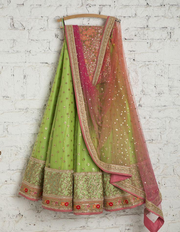 SwatiManish Lehenga  SMF LEH 143 17 Lawn green lehenga with Pink peach badla dupatta and threadwork blouse
