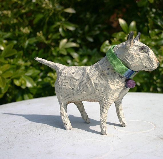 Papier Maché Bull Terrier with Striped Collar by TheTerriersClub