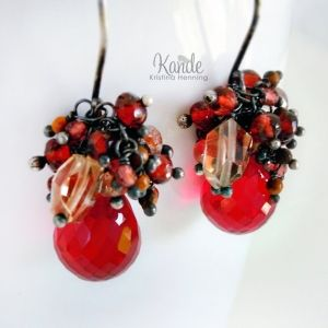 Earring red wire wrap w sm bead cluster by Maca