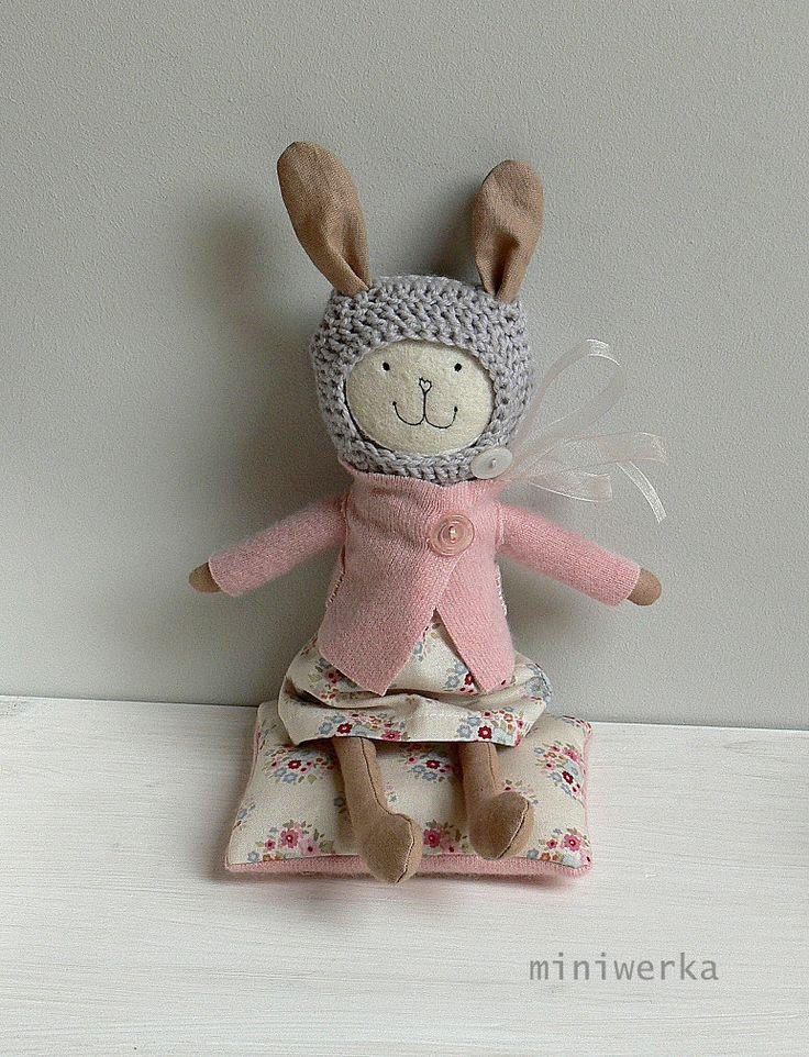 Stuffed Bunny Toy, Heirloom Bunny Doll - Vintage fabric doll - CARA by MiniwerkaToys on Etsy