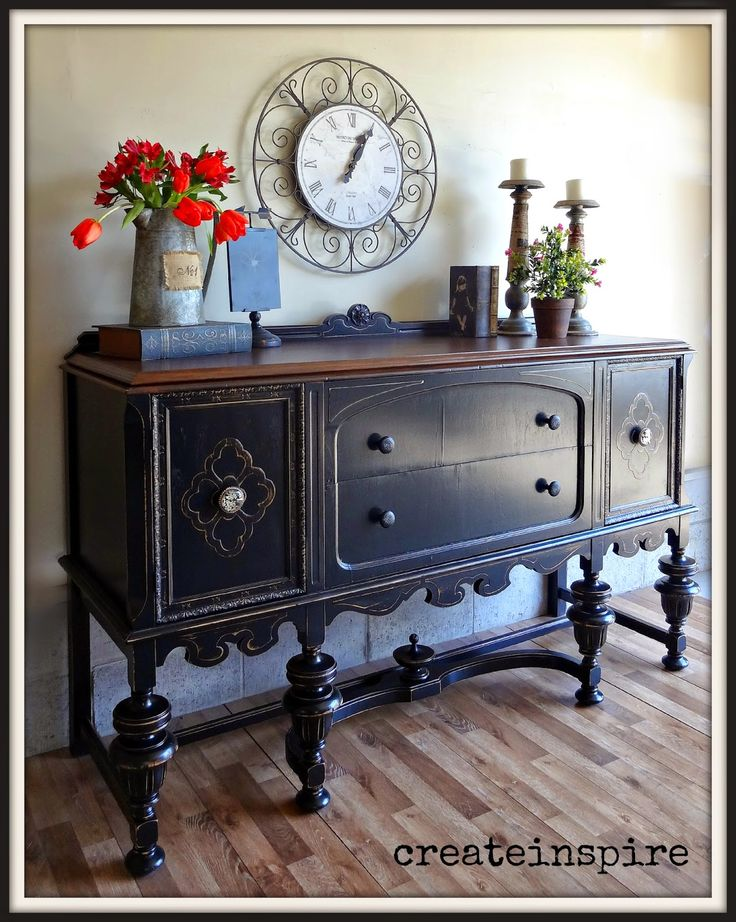 {createinspire}: Antique buffet in black