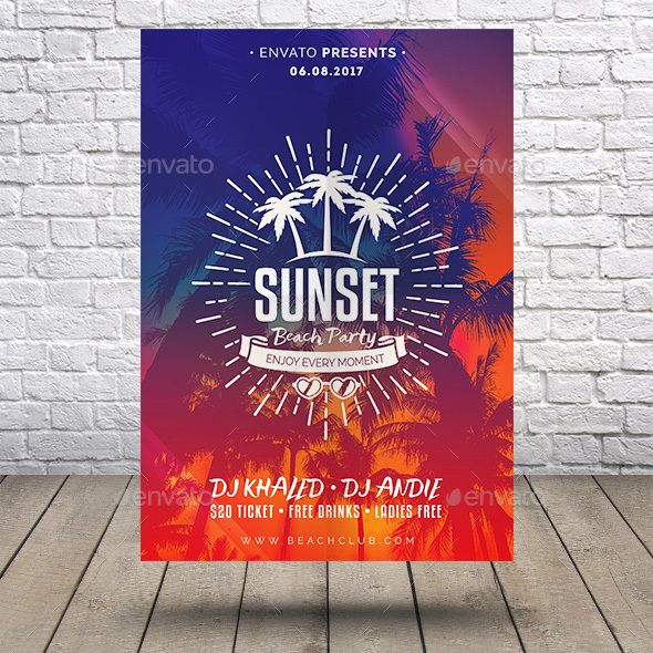 Sunset Beach #Party #flyer - Clubs & Parties #Events Download here: https://graphicriver.net/item/sunset-beach-party-flyer/19487379?ref=alena994