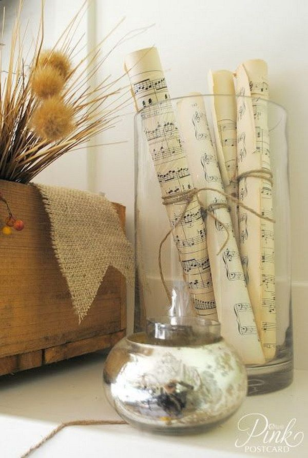 easy to make romantic sheet music decorating projects diy vintage decor ideas - Vintage Decor