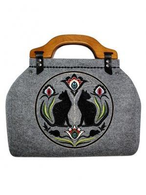 GOSHICO - szara torebka filcowa z wzorem ludowym - folk