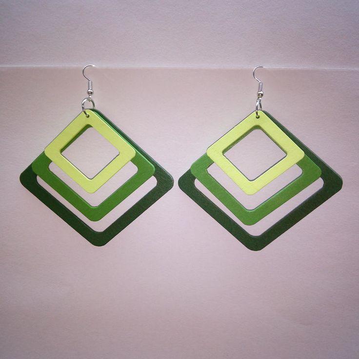 Women's Earrings Fashion Eco-Friendly Wood Ear drop Square Frame Wood Earrings   #DropDangle