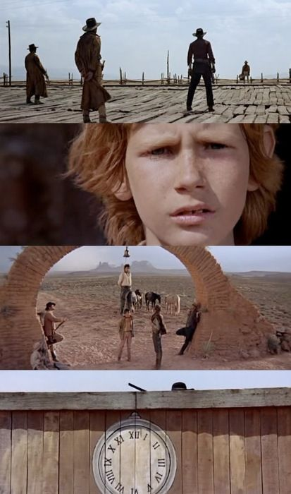 Once Upon a Time in the West, 1968 (dir. Sergio Leone). All of Leone's characteristic formal tropes are here, most notably his widescreen set pieces brilliantly choreographed to the music of Ennio Morricone