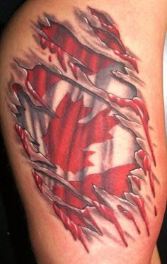 skin tearing flag tattoo - Google Search