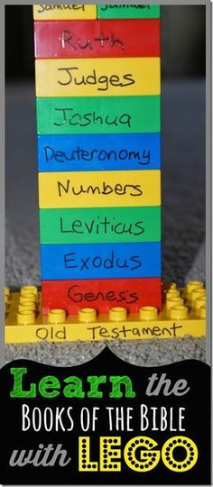 LOVE THIS! Learn the Books of the Bible using Lego Duplo blocks. (this works for learning the alphabet too) LOVE the tips for learning middle of the Bible and 1st & 2nd books! Great for Sunday School classes or at homes too.