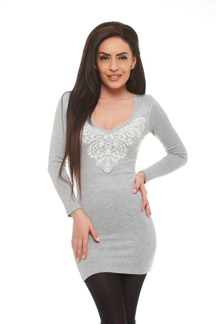MissQ Butterfly Spread Grey Dress