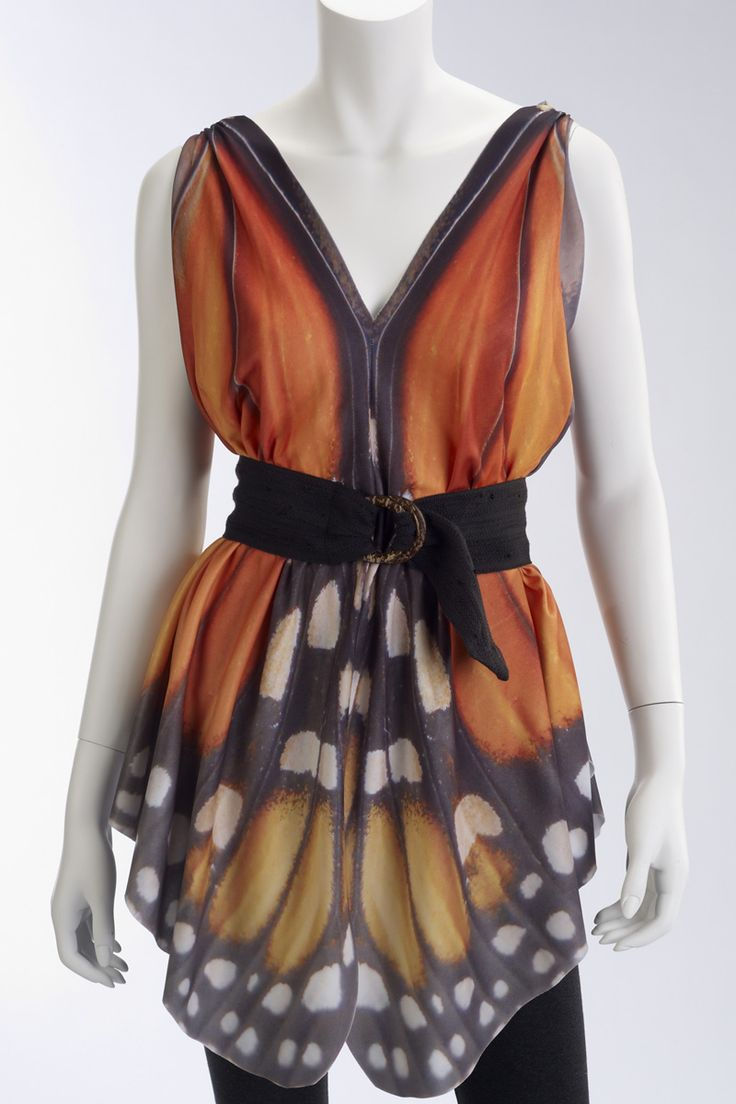 Butterfly Tunic. From Spiritex- The designer took a picture of a monarch and blew it up to make this top. She just put it on fabric and cut it out!!!