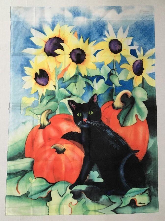Black Cat Pumpkin Moon Halloween Sunflowers Hanging Porch Banner Garden Flag